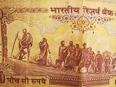 Indian 500 rupee back side depicting Mahatma Gandhi dandi march movement