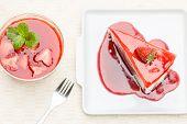 Rainbow Cheese Cake With Fresh Strawberries And Strawberries Cheese Cake