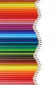 School Supplies Colored Pencils Forming A Wave, Education Topic