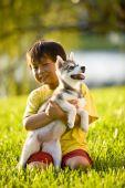 asian jungbulle knuddeln Welpen sitzen auf Gras