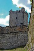 pic of yellow castle  - Old castle tower with red and yellow flag - JPG