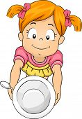 Illustration of a Little Girl Handing Over an Empty Bowl Asking for Seconds