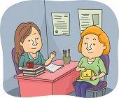 Illustration of a Parent and a Teacher Having a Talk at the Teacher's Office