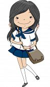 Illustration of a Female Japanese Student Wearing a Sailor Uniform