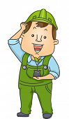 Illustration of a Man Wearing Green Overalls Holding a Sapling
