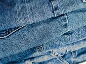 Stack of a Variety of Blue Jeans