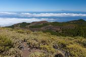 Volcanic Landscape Of La Palma With A View At Tenerife 100 Kilometer Away Over The Ocean