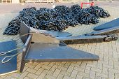 Steel Anchor With Chains Ready To Be Shipped