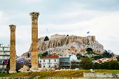 picture of olympian  - Temple of Olympian Zeus in Athens on an overcast day - JPG