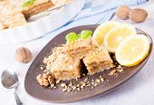 foto of baklava  - Baklava cake stuffed with walnuts in the plate - JPG