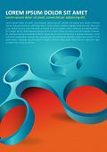 Abstract orange and blue background with modern 3d shape for poster, flyer, brochure and other prints.