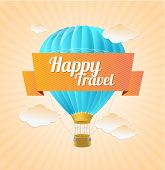 Vector air ballon, blue sky and slogan. Travel