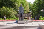 Novgorod, Russia - August 10, 2013: Bronze Monument For Rachmaninov Near The Novgorod Kremlin. The M