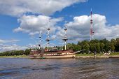 Novgorod, Russia - August 10, 2013: Sailing Ship On River Volhov In Summer Day. Novgorod Veliky Is R