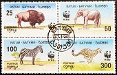 BATUM - CIRCA 1994: A stamp printed in Batum shows elephant bison zebra and cheetah seire circa 1994