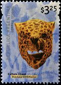 ARGENTINA - CIRCA 2000: A stamp printed in Argentina shows ceremonial mask of culture Chané circa 20