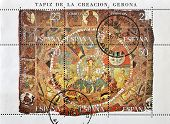 SPAIN - CIRCA 1980: A stamp printed in Spain shows the tapestry of creation circa 1980