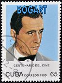 CUBA - CIRCA 1995: A stamp printed in Cuba shows american Broadway and movies actor Humphrey Bogart