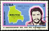CUBA - CIRCA 1972: A stamp printed in Cuba shows the image of Che Guevara and the map of Bolivia
