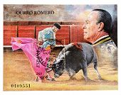 SPAIN - CIRCA 2001: A stamp printed in Spain with of the figure the bullfigther Curro Romero