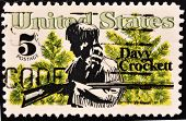 UNITED STATES - CIRCA 1967: stamp printed by United states shows Davy Crockett and Scrub Pines