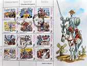 SPAIN - CIRCA 1998: A stamp printed in Spain shows illustrating various scenes of Don Quixote