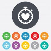 Heart Timer sign icon. Stopwatch symbol.