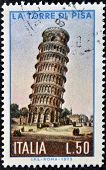 ITALY - CIRCA 1973: a stamp printed in Italy shows image of the tower of Pisa Italy circa 1973