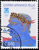 A stamp printed in Greece shows an illustration alluding to the 2004 Athens Olympics
