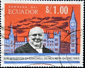 ECUADOR - CIRCA 1966: A stamp printed in Ecuador shows Winston Churchill circa 1966