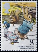 UNITED KINGDOM - CIRCA 1979: a stamp printed in the Great Britain shows Peter Rabbit Childrens book