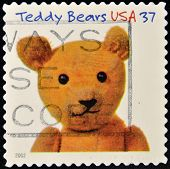 stamp printed in the United States of America shows image of teddy bear
