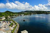 picture of cruise ship caribbean  - View from a cruise ship docked at Roatan Honduras - JPG