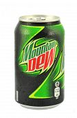 Can of Mountain Dew drink isolated on white