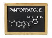 chemical formula of pantoprazole on a blackboard