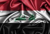 stock photo of iraq  - Satin flag three dimensional render flag of Iraq - JPG