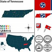 stock photo of memphis tennessee  - Vector set of Tennessee state with flag and icons on white background - JPG