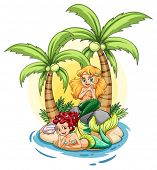 Illustration of an island with two mermaids on a white background