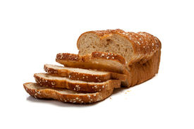 image of whole-grain  - A loaf of whole grain bread on a white background - JPG