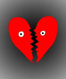 picture of heartbreaking  - Heart that is both sad a broken due to heartbreak - JPG