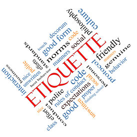 stock photo of politeness  - Etiquette Word Cloud Concept angled with great terms such as manners polite social and more - JPG