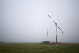 pic of shadoof  - Shadoof in grey fog at early morning - JPG