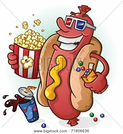 Постер, плакат: Hot Dog Cartoon At the Movies, холст на подрамнике