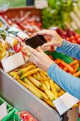 App in smartphone scanning barcode for price comparison in supermarket