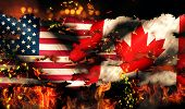 Usa Canada National Flag War Torn Fire International Conflict 3D