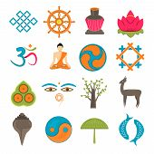 Buddhism icons set