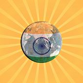 Indian currency flag globe with sunburst illustration