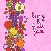 Fruits and berries border vertical