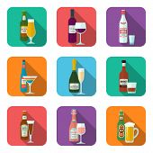 Alcohol bottles and glasses icons set