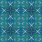 Dark medieval weapons seamless pattern